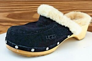 UGG Youth Girls Shoes Size 2 M Black Mule Leather $17.99
