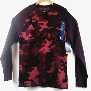 POLO Ralph Lauren Red Camo CAMOUFLAGE L S Thermal SHIRT Large Soft amp; Light $45 $26.05