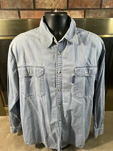 Vintage Columbia Hunting Canvas Button Up Shirt Mens Size XL Camping Gray L.S.
