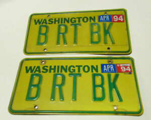 Washington State license plate WA matched 2 plates pair set BE RIGHT BACK