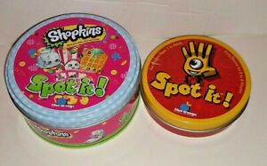 Original Spot It and Shopkins Spot It Game by Blue Orange Tin 2 games
