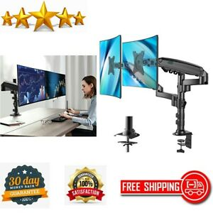 Dual Monitor Stand Gas Spring Double Arm Desk Stand Fit Two 17 to 32 inch Screen $54.87