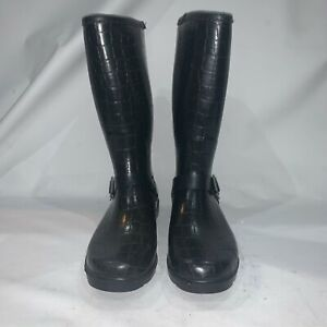 Dirty Laundry Womens Rubber Snake Print Black Rain Boots Pull On Size 9