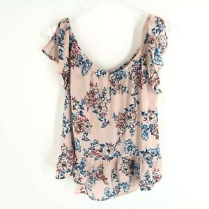 Lily White Blouse Women#x27;s Size Extra Large XL Pink Floral Flutter Sleeve Shirt $14.96