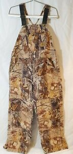 Vintage USA Made Carhartt Camouflage Hunting Overalls Brown Camo insulated 36X27