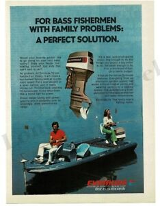 1976 EVINRUDE 70 HP Outboard Motor on Bass Boat Vintage Ad