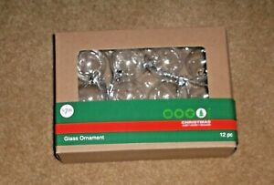 CLEAR GLASS 12PC NIP ROUND ORNAMENTS REMOVABLE TOPS SILVER TRIM amp; HANGER $12.99