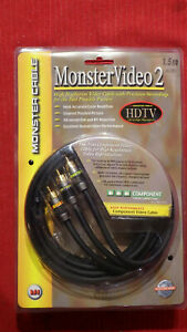 Monster Rca Cables Video Component 3 Jacks 1.5m Long New Sealed Package $12.95