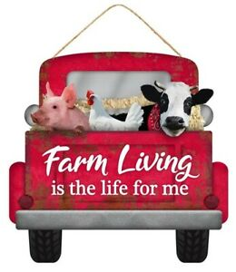 Farmhouse Red Country Truck Sign. NEW. Cow Pig Chicken. 12quot; X 11.5quot;