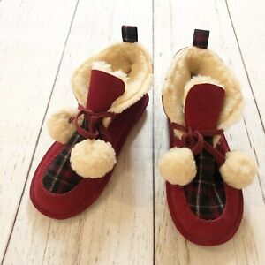 BearPaw Red Boots Slippers Womens 10