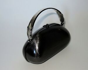 NEW Rodo Italy Silver Brushed Metal Designer Evening Hand Bag Swarovski Crystal