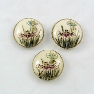 Vintage Satsuma Buttons Iris Flowers Ceramic Set of 3