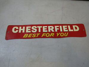 CHESTERFIELD BEST FOR YOU METAL VINTAGE DOOR PUSH BAR SIGN ORIGINAL