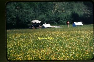 Car amp; Shirtless Man Camping in Germany in 1954 Kodachrome Slide aa 9 26a