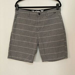 hurley shorts 33 Mens Gray White Striped Casual Pockets Flat Front $18.99