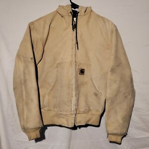 Vintage Carhartt Jacket Hooded Mens Faded Brown Tan Duck Small Union Made in USA