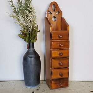 Vintage Wooden Apothecary Spice Cabinet Cupboard 6 Drawers