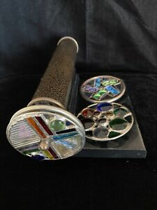 VINTAGE SHERYL KOCH KALEIDOSCOPE w STAND DATED 1992 4 WHEELS    STUNNING