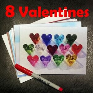 💘 Set of 8 Fire and Light Heart Valentines 💘 Original Recycled Glass Art 💘