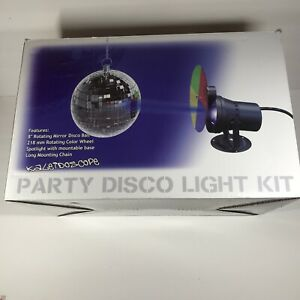 "Spencer's Kaleidoscope Party Disco Light Kit 8"" Mirror Ball Rotating Color Wheel"