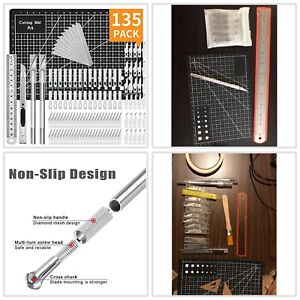 Kit135 Exacto Knife Set Blades Refill Ruler Xacto For Craft Cutting And Crafting $15.59