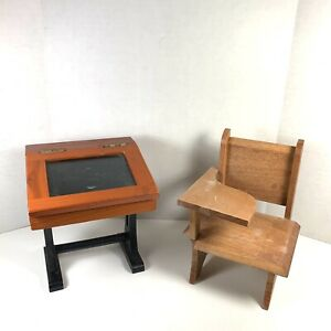 Vintage Mini Wooden Replica Handmade School Desk amp; Chair 5.5quot; Tall $29.95