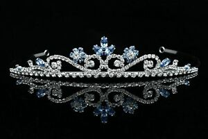 Princess Rhinestones Blue Crystal Flower Bridal Wedding Prom Silver Tiara Crown $14.95