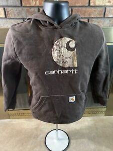 Carhartt Camouflage Camo Brown Hooded Sweater Youth Size Large Farm Ranch Work