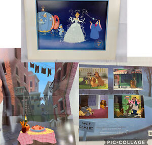 Disney Lithograph Pictures Lady And The Tramp With Folder amp; Cinderella $49.99