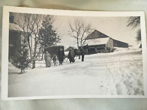 Vintage 1930 Farm Photograph Pennsylvania PA printed on a post card wagon farmer