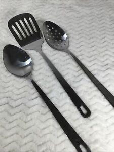 3 Wolfgang Puck Stainless Steel Cafe Kitchen Tools Spatula Spoon Slotted Spoon $15.97