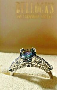 2ct. Estate Alexandrite amp; Sapphire Engagement Ring Sz9