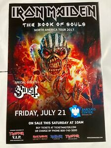 Iron Maiden 2017 Book of Souls Tour Poster 7 21 Barclays Brooklyn 24x36 RARE nyc