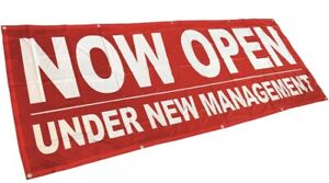 3x8 ft NOW OPEN UNDER NEW MANAGEMENT Banner Sign rb Polyester Fabric $29.95