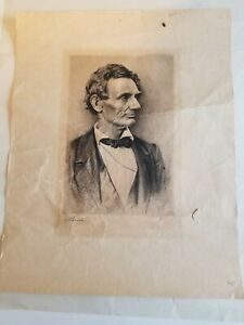 Abraham Lincoln Beardless 1908 Engraving signed by OTTO J. SCHNEIDER $27.00