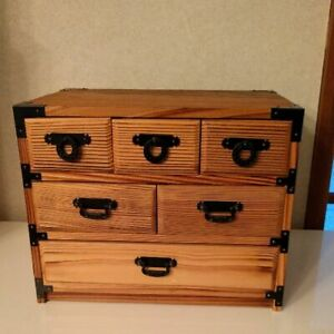 Jewelry Box Organizer sewing wood drawers Brown rare limited 29*20*23cm Japan 6H $135.50