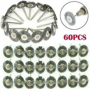 60pc Stainless Steel Wire Brush Fit Dremel Rotary Tool Die Grinder Removal Wheel $12.91