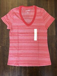 Universal Thread Women#x27;s Striped Short Sleeve V Neck Relaxed Fit T Shirt Red