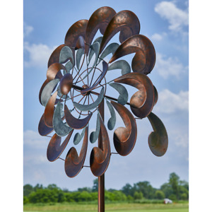 Wind Spinner Garden Metal Outdoor Yard Decor Stake Two Tone Steel Antique Copper $66.99