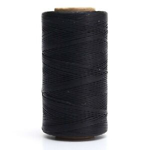 284yrd Waxed 150D 1mm Leather Hand Stitching Sewing Thread Black $10.21