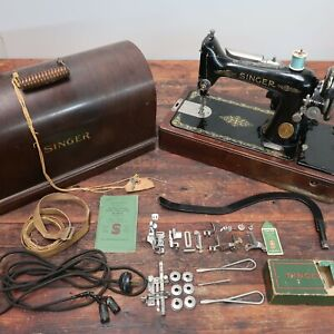 Singer Sewing Machine Model 99 13 With Case amp; Key Many Extra Original Parts $340.00