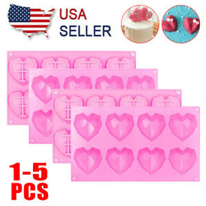 8 Cups Silicone Cake Mold Chocolate Bombs Mould 3D Heart shaped Baking Tool Pink $13.99