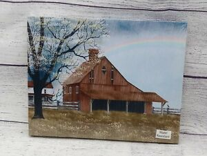 His Promise by Billy Jacobs Canvas Picture 8x10 Rainbow Over Barn Farmhouse $7.95