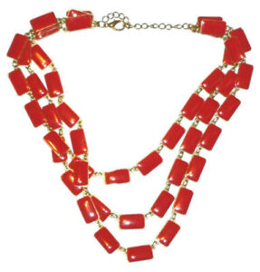Necklace Statement Red Gold Multi Strand Costume Jewelry Square Womens