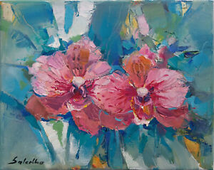 ORIGINAL OIL PAINTING MODERN ART 10quot;x8quot; Contemporary Art FLOWERS ORCHIDS GARDEN $78.00