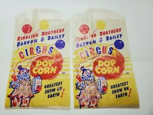 2 NOS Vintage 1950s RINGLING BROTHERS BARNUM BAILEY CIRCUS POP CORN BAGS $5.00