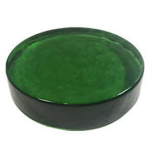 Recycled Glass Green Disk Paperweight Textured Glass Art Round Sculpture $19.99