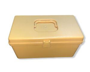 Vintage Wil Hold Wilson Mfg Yellow Sewing Box Plastic Pullout Tray Retro Case $34.99