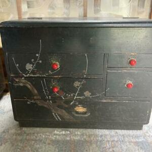 Antique sewing box lacquer lacquer raden work color black flower pattern used $157.48
