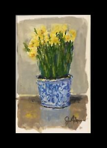 Daffodils In Blue And White Pot Original Painting 5x7 by Jo Ackerman $45.00